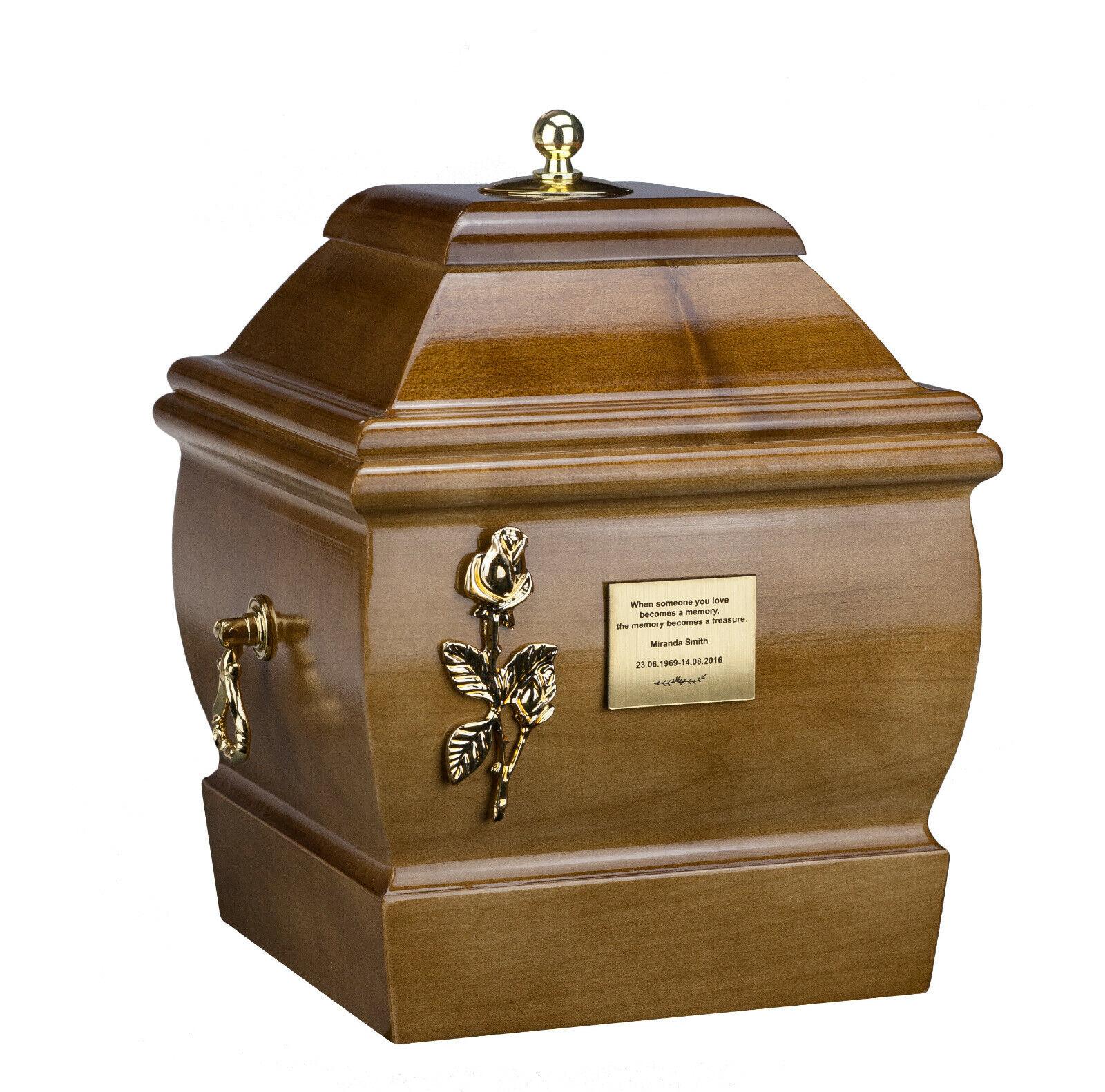 Beau Bois Solide Cercueil Enterrement Urne de Cendres pour Adulte Crémation