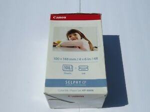 Canon Selphy KP-108IN Color Ink Paper Set 108 4x6 Sheets with 3 Toners 3115B001