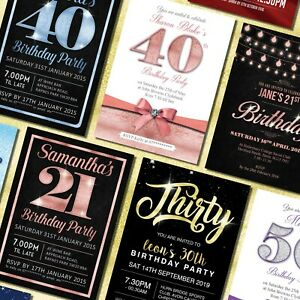 Details About 18th 21st 30th 40th 50th 60th Birthday Invitations Personalised Party Invites