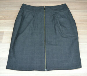 CUE-Womens-Black-Checked-Corporate-Pencil-Full-Zip-Midi-Skirt-Back-Slit-Size-8