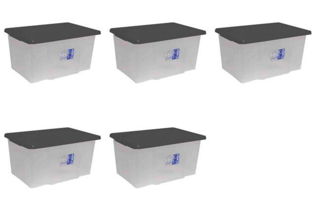 5 x 50L Large Size Plastic Clear Storage Box Boxes Set Container & Lid 50 Litre