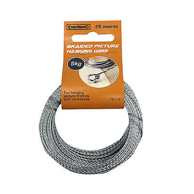 Zinc Plated Steel Everhang BRAIDED PICTURE HANGING WIRE 25m 5Kg Load Rating