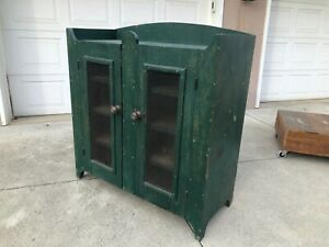 Mid-Late-1800s-Original-American-Green-Paint-Pie-Safe-Valley-of-Va-Mixed-woods