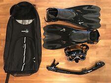 Phantom Aquatics Legendary Mask Fin Snorkel Set with Mesh Bag, Black M/L 9 -12