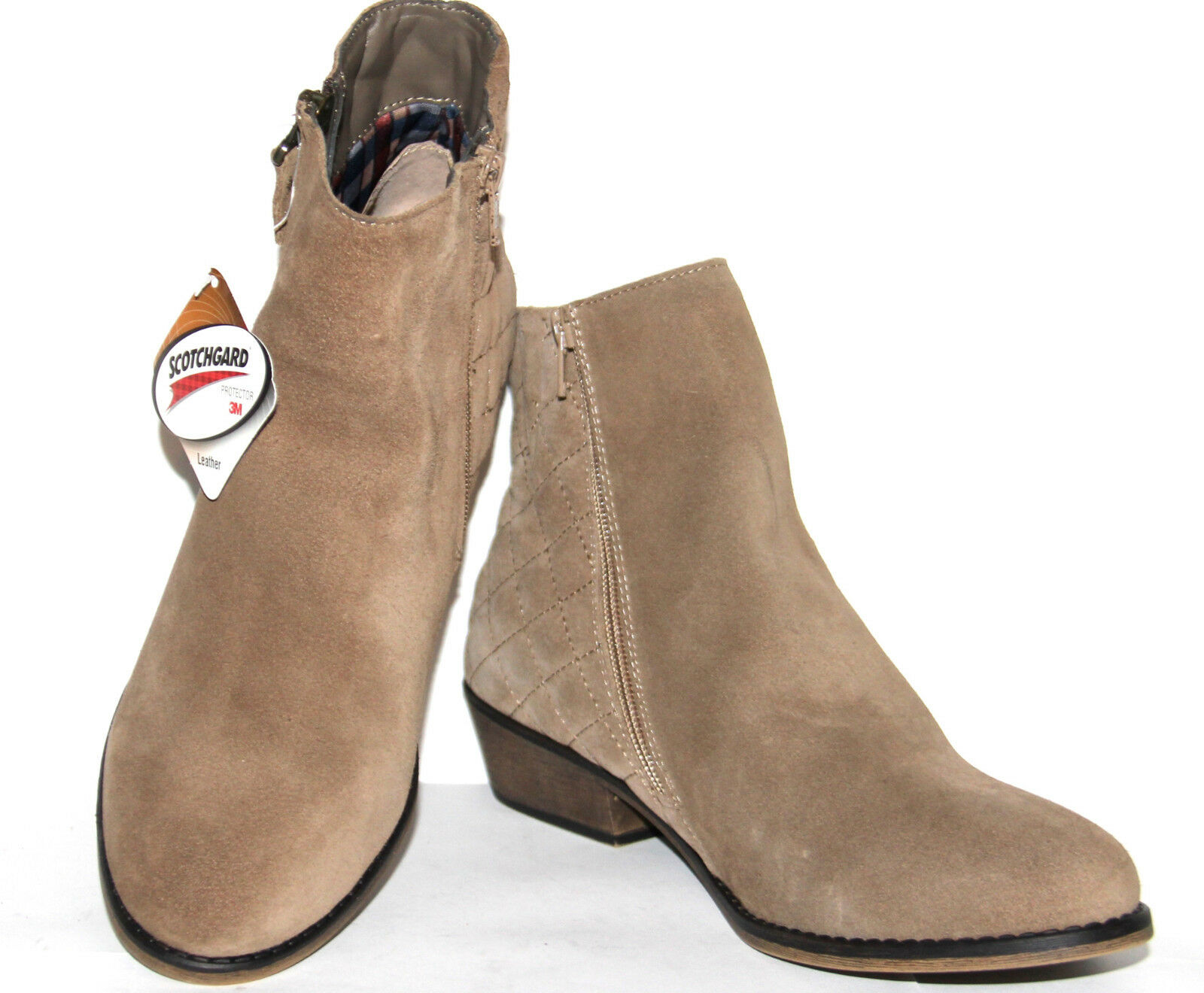 White Mountain 9.5W Water Resistant Suede Ankle Boots - Jodi TAUPE