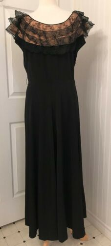 Vintage 1930's 1940's rayon dress, black with pink