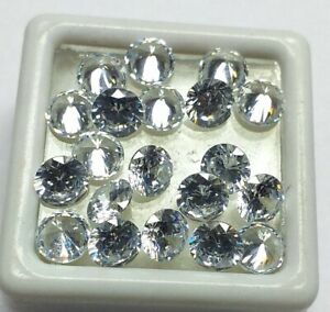 Natural-White-Color-Zircon-Round-Shape-Loose-Gemstone-Lot