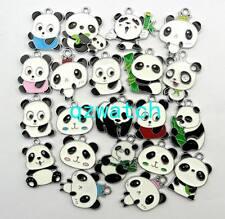 20 Pcs Mixed color Panda Metal Charms pendants DIY Jewellery Making gift