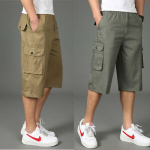 New-Mens-Cargo-Shorts-Overalls-Pants-Loose-Casual-Trousers-Cotton-Elastic-Waist