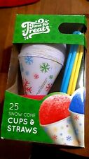 Sno Cones Cups With Spoon Straws 25 Count Multi Color New