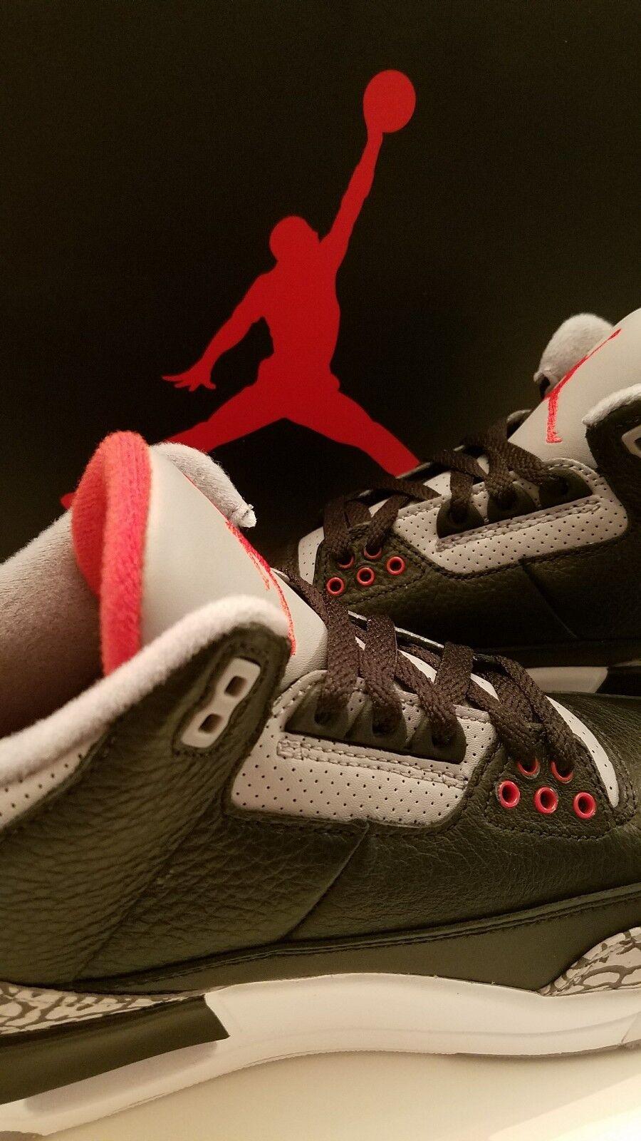 Air Jordan 3 Black Cement Retro III OG 854262 001 Size 8.5 w VTG Jordan Jersey