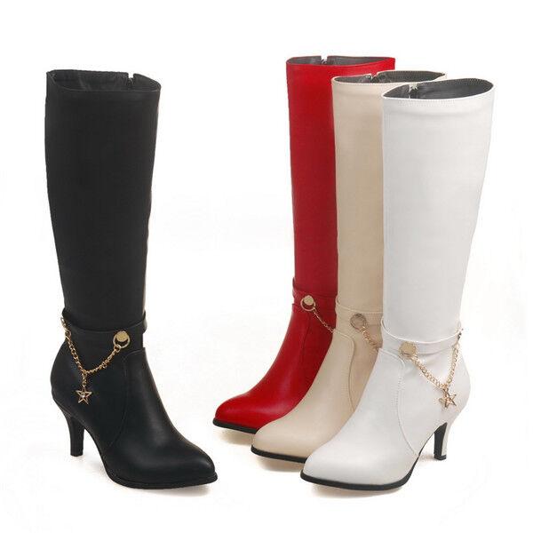 Elegant Spitz Damen Stiefel Stiletto Bbsatz Schuhe Reißverschluss Business Neu