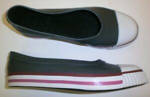Dav-Bailarina-Mujer-Zapatos-de-Goma-Lluvia-Gris-con-Rojo-37-Nuevos