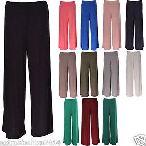 bd612db981314 New Womens Ladies Plus Size Plain Palazzo Wide Leg Flared Trousers ...