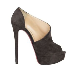 54c114c62c2 Image is loading 53241-auth-CHRISTIAN-LOUBOUTIN-grey-suede-leather-Platform-