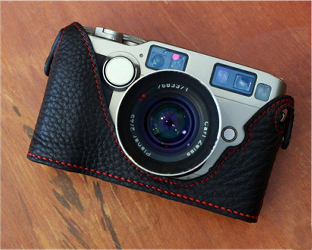 Leather Black with Red Stitching Half Case for Contax G1 - BRAND NEW
