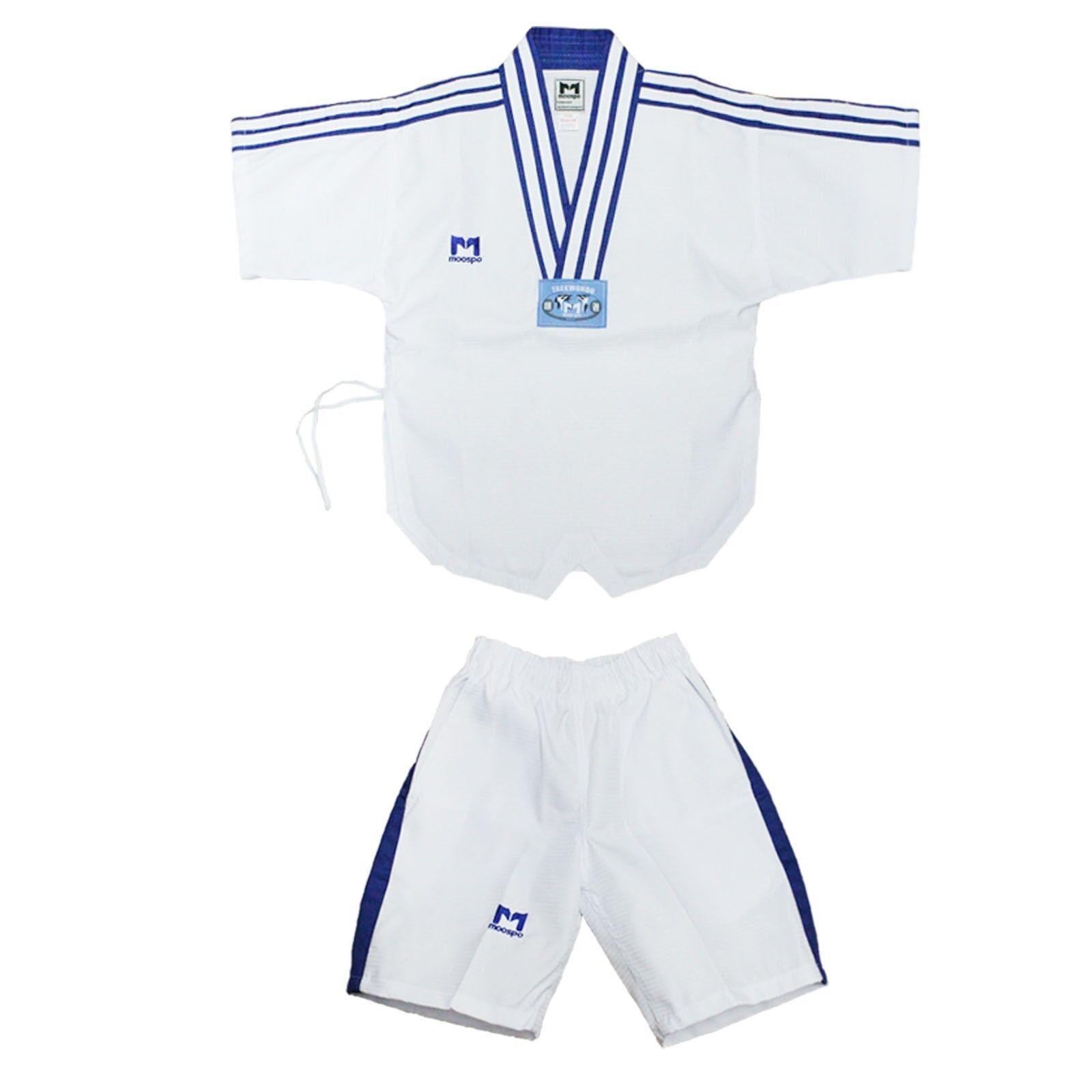 TAEKWONDO SUMMER UNIFORM Dobok Suits bluee Stripes Diamond Pattern Cool MMA TKD