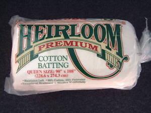 "BLACK Hobbs Heirloom Premium Cotton Batting//Wadding Queen Size 90 /""x 108/"""