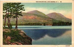 Vintage Postcard -White Border 1948 Twin Mountains Lake George New York NY #4231