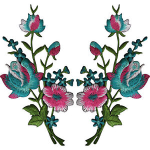 Pair-of-Flower-Embroidered-Patches-Iron-Sew-On-Embroidery-Patch-Badge-Appliques