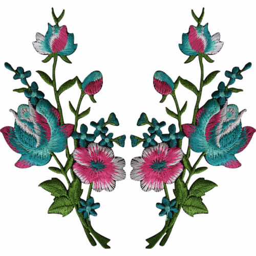 Pair of Flower Embroidered Patches Iron Sew On Embroidery Patch Badge Appliques