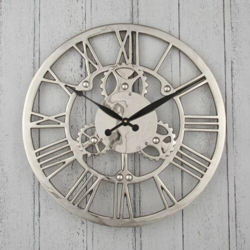 Round Wall Clock Nickel Plated Aluminium Cog Industrial Design