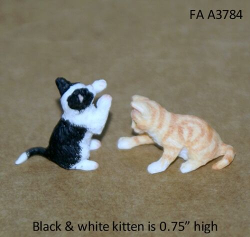 2 PLAYING KITTENS 112 Scale Dollhouse Miniature Pet Adult Collectible