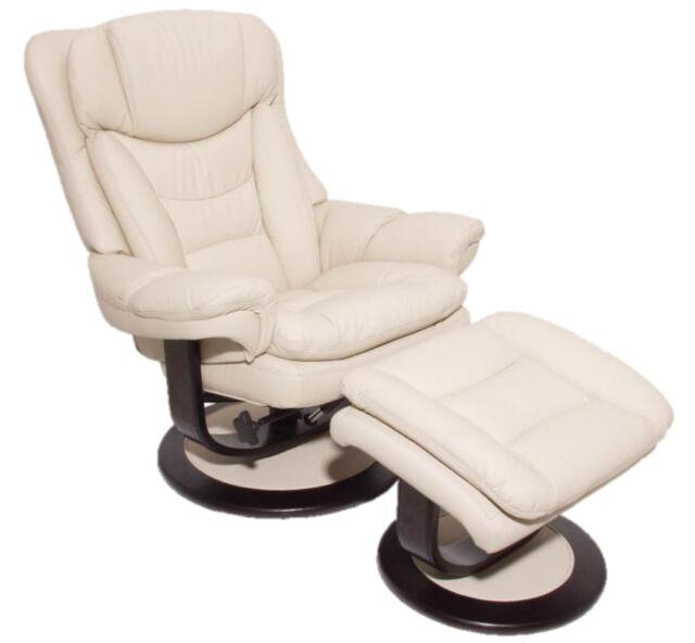 Barcalounger Roscoe Frampton Ivory Leather Pedestal Recliner Chair Ottoman