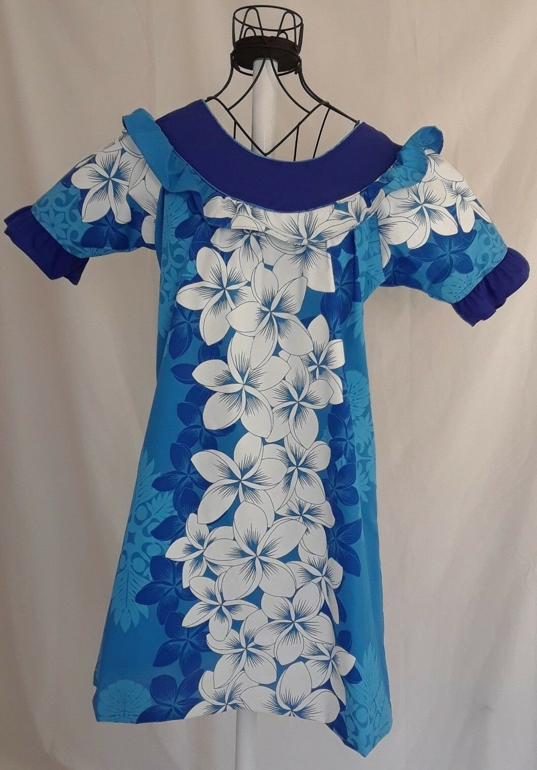 Royal Creations Hawaiian Dress Womans Small MuuMuu bluee Cover Up Cruise Luau