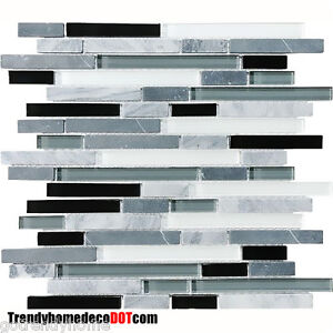 Image Is Loading SAMPLE Gray Black Glass Marble Mosaic Tile Backsplash