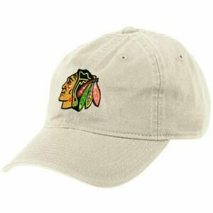 Chicago-Blackhawks-NHL-Reebok-Khaki-Stone-Slouch-Dad-Hat-Cap-Adult-Adjustable