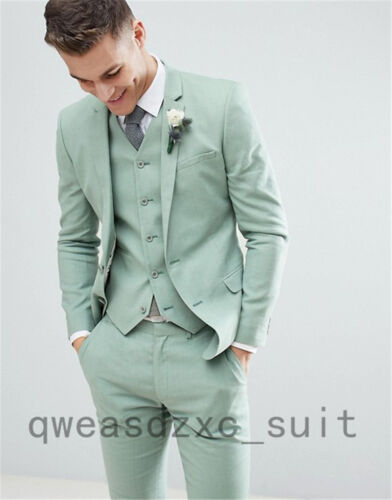 Men/'s Light Green Slim Fit Groom Tuxedos Wedding Summer  Suit Custom Made