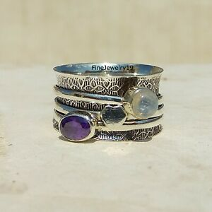 Amethyst-Moonstone-Ring-925-Sterling-Silver-Spinner-Ring-Meditation-Jewelry-A53