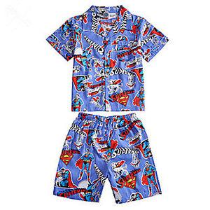65dba2d45 Boys Kids Children Superman Short sleeves Pajama pants shorts set ...