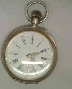 Details zu Antike Herrentaschenuhr Taschenuhr,6 Rubis,800er Silber,Punze Mond & Kronea304