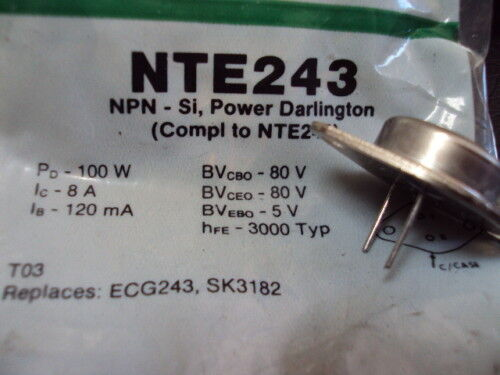 NTE Electronics NTE 243 see NTE 244 NTE243 Transistor Darlington Power AMP,