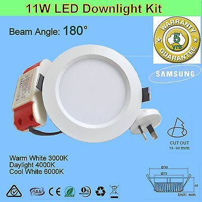 11W 180° Dimmable or non-dim LED Downlight kit - Warm, Daylight or Cool White