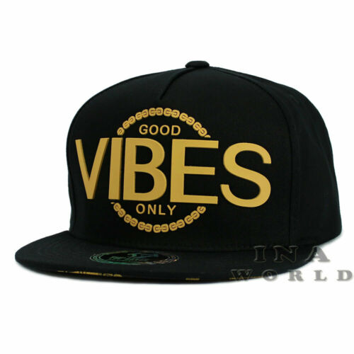 Black//Gold GOOD VIBES Only hat Rubber Patched Snapback Flat bill Baseball cap