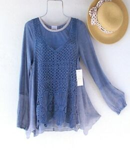 New-98-Blue-Crochet-Lace-Peasant-Blouse-Shirt-Layered-Boho-Top-Size-Small-S