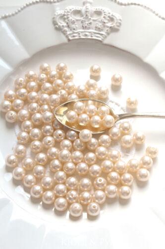 0,03€//St 100 Perlen 10mm Ø1cm seidenmatt creme Wachsperlen Dekoperlen