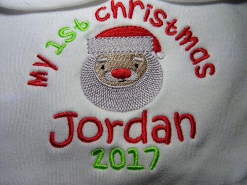 Personalised Embroidered HAPPY OR MY 1ST CHRISTMAS BABY GROW SLEEPSUIT KEEPSAKE
