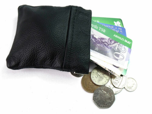 MENS LADIES  VARIOUS COLOURS  REAL LEATHER COIN POUCH WALLET PURSE