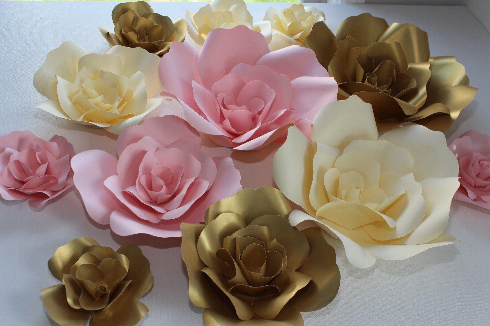 Lot de 12 fleurs en papier mur décor, décors, mariages, Douches Décoration