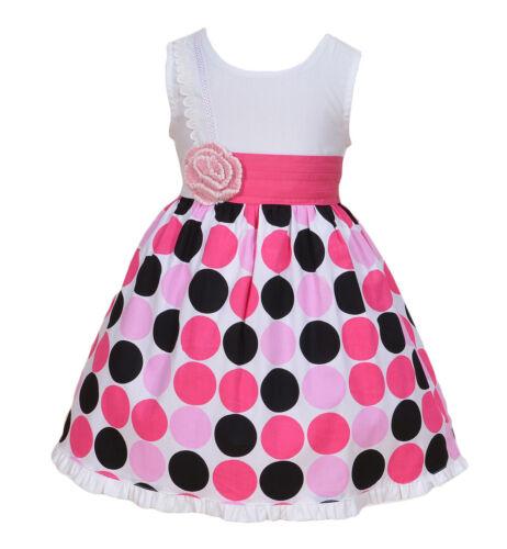 Cinda Girls Cotton Dress in Pink Dots Pink Watermelon 18 24 Month 2 3 4 5 6 Year
