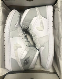 Nike-Men-039-s-Air-Jordan-1-Mid-DC9035-100-Grey-Camo-and-White-Shoes-Size-11