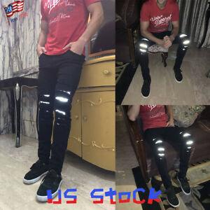 NEW-Fashion-Men-039-s-Denim-Pants-Reflective-Jeans-Ripped-Pencil-Trousers-Casual-US