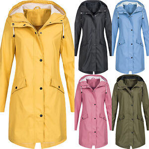 Womens-Long-Sleeve-Hooded-Wind-Jacket-Ladies-Outdoor-Waterproof-Zipper-Rain-Coat