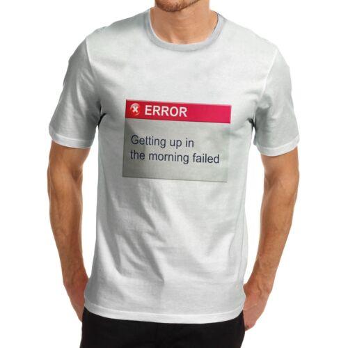 Men/'s divertente messaggio COOL Stampa mattina errore T-shirt