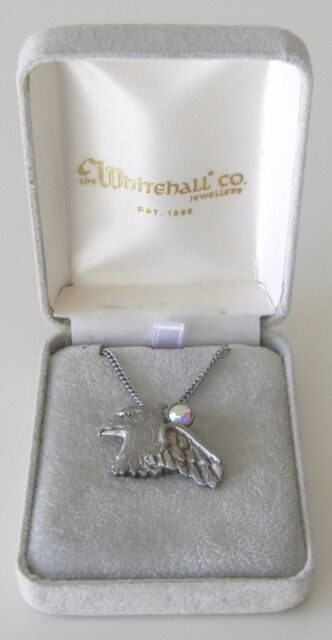 VERY NICE Pewter Eagle Pendant With Crystal By The Whitehall Co. Jewelers