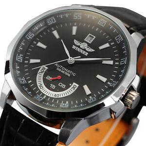 Luxury-Automatic-Mechanical-Date-Analog-Black-Leather-Strap-Men-Wrist-Watch-Gift